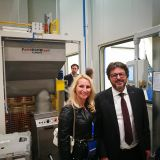 In front of our machine: our Managing Director Mojca Andolšek and Hubert Kosler, Managing Director of Yaskawa Europe Robotics